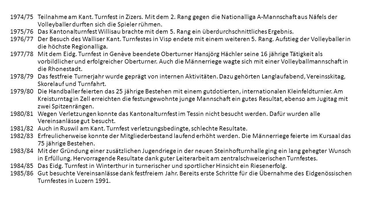 Die vierten 25 Jahre des Turnvereins 1965-1989 1964/65 In würdiger Form feierten wir unser 75 Jahr Jubiläum. Für die grossen Verdienste unseres Mitgli