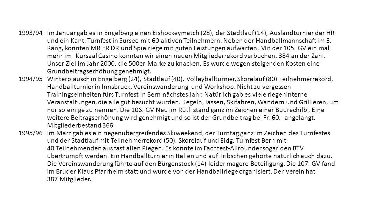 Die fünften 25 Jahre des Turnvereins 1989-2014 1989/90 Neben Januar Lotto, Vereinsturntag und Skorelauf im Meggerwald fand auch die erste KIA als Vorb