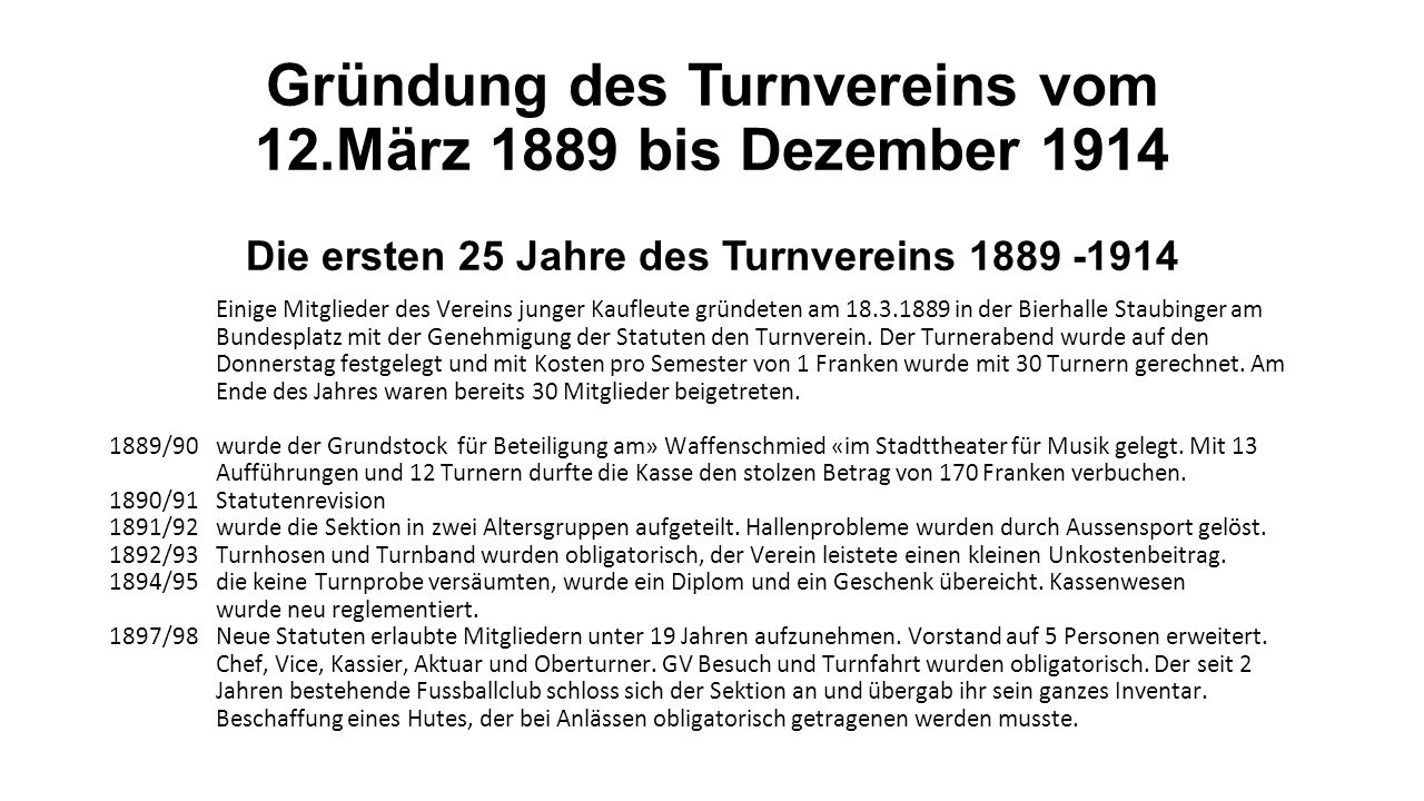 125 Jahre Turnverein Kaufleute Luzern Eine Zeitreise von der Vergangenheit bis zur Gegenwart
