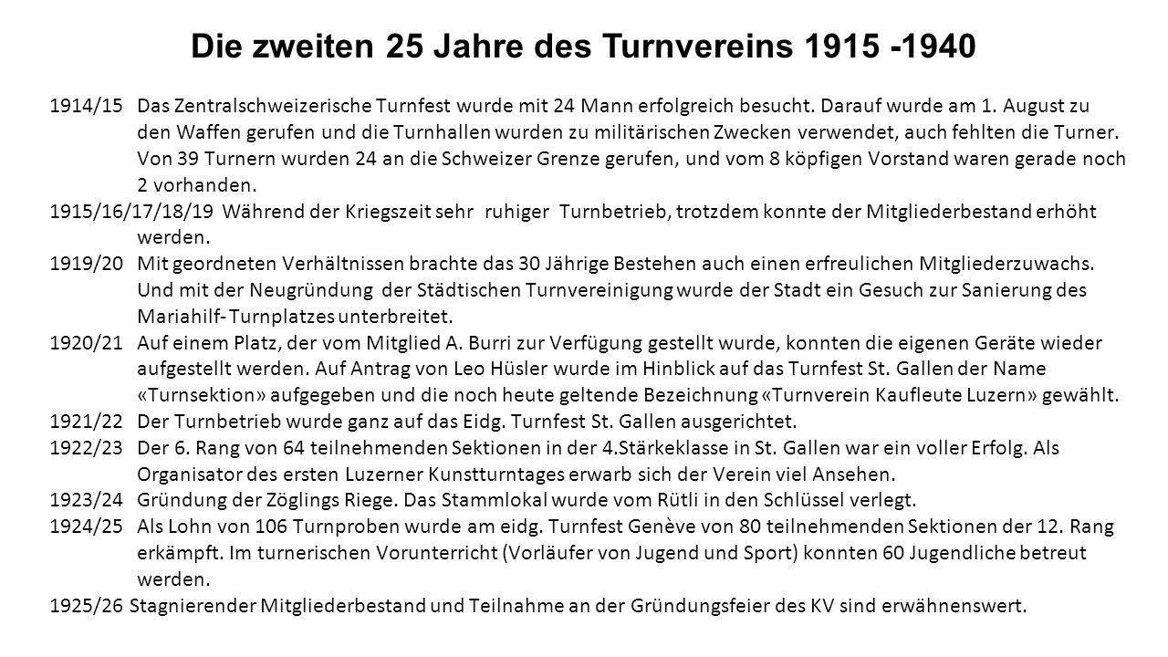 1898/99 Der Vorstand wurde mit Materialverwalter und Bussenkassier ergänzt. 1900/01 Dem Stadtturnverein wurde für ein neues Banner 50 Franken überwies