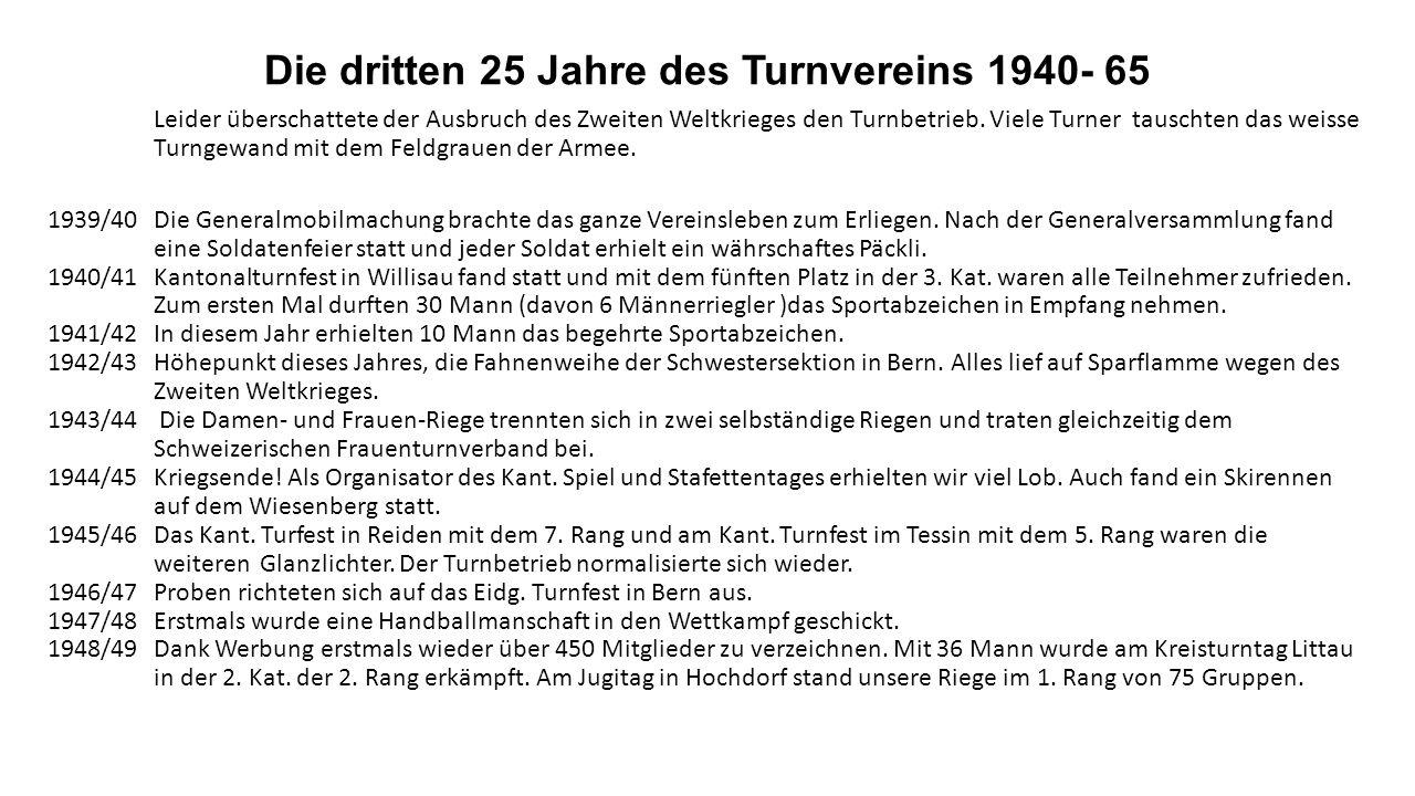 1926/27 Neben dem Kantonalen in Reiden wurde auch das Kantonale in Mendrisio besucht. Mit einem zweiten Rang war die Ausbeute überaus erfolgreich.1927