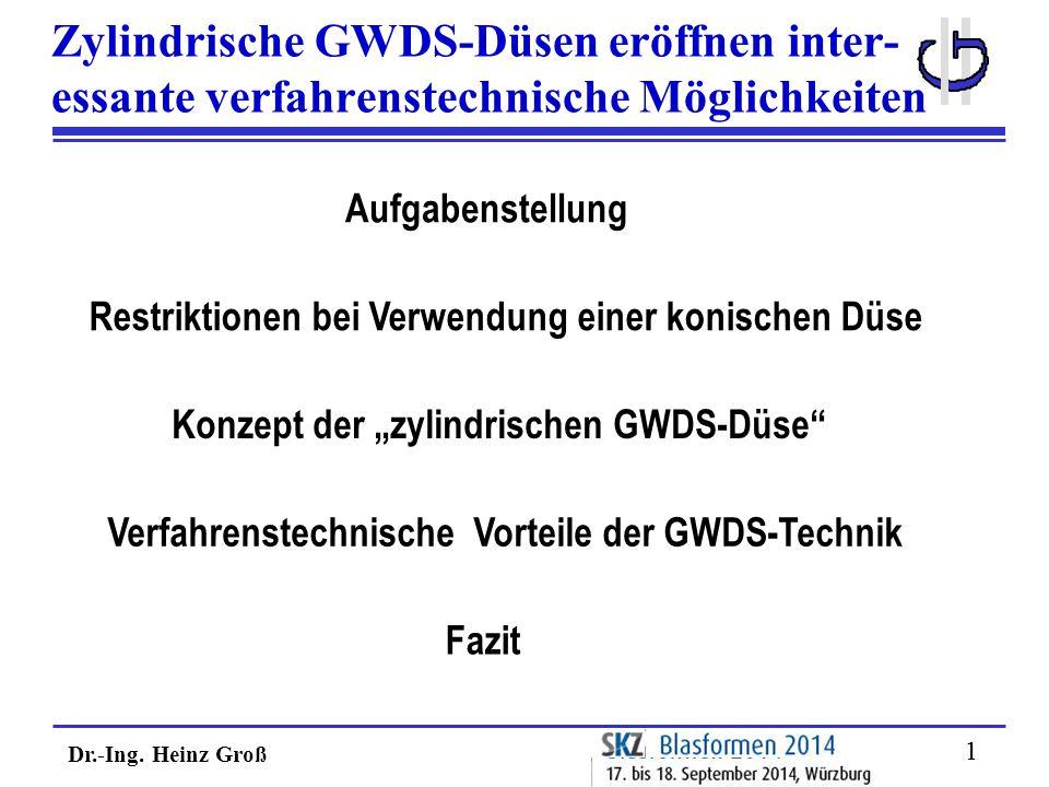 Dr.-Ing. Heinz Groß 11 Zylindrische GWDS-Düsen eröffnen inter- essante verfahrenstechnische Möglichkeiten Restriktionen bei Verwendung einer konischen