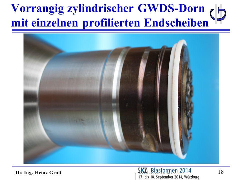 Dr.-Ing. Heinz Groß 18 Vorrangig zylindrischer GWDS-Dorn mit einzelnen profilierten Endscheiben