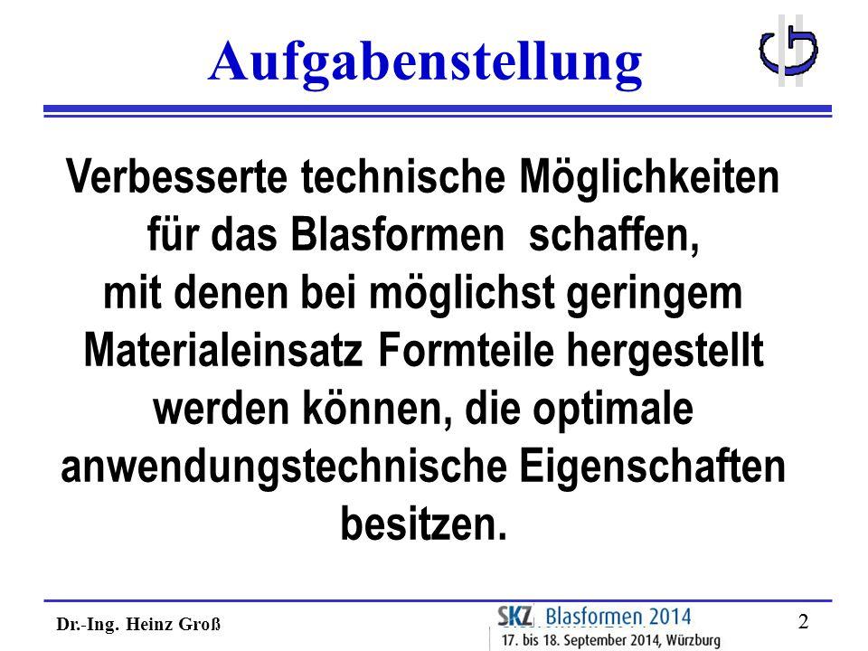 Dr.-Ing. Heinz Groß 22 Aufgabenstellung Verbesserte technische Möglichkeiten für das Blasformen schaffen, mit denen bei möglichst geringem Materialein