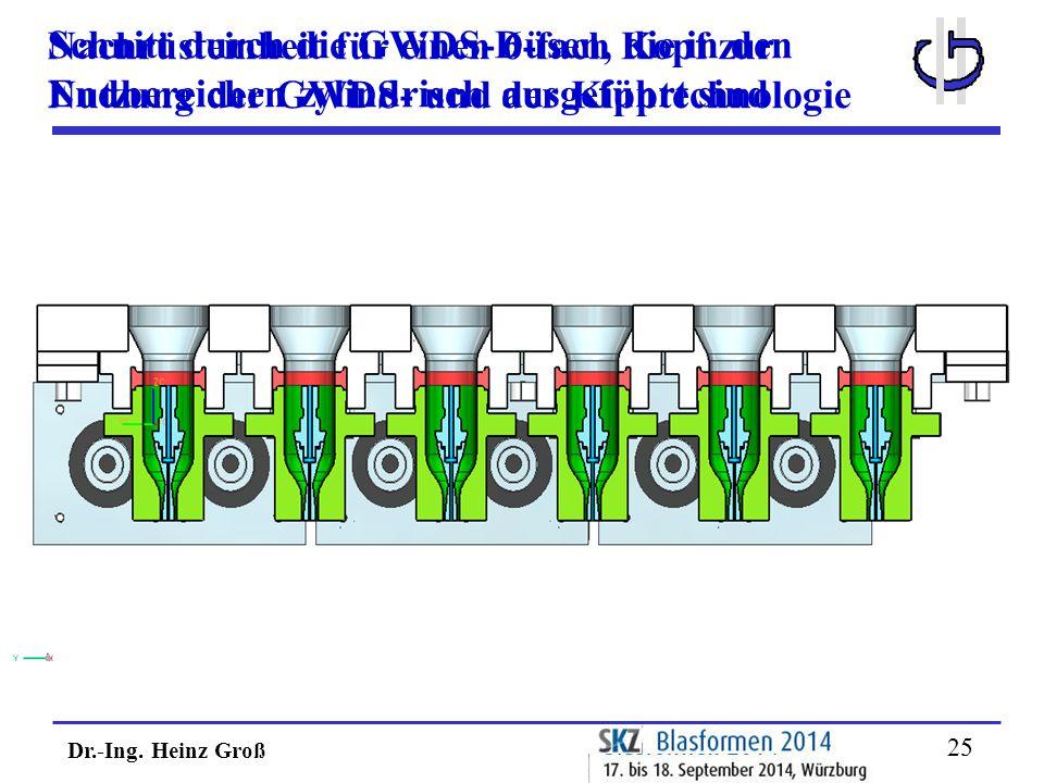 Dr.-Ing. Heinz Groß 25 Nachrüsteinheit für einen 6-fach Kopf zur Nutzung der GWDS- und der Kipptechnologie Schnitt durch die GWDS-Düsen, die in den En