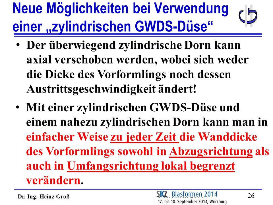 """Dr.-Ing. Heinz Groß 26 Neue Möglichkeiten bei Verwendung einer """"zylindrischen GWDS-Düse"""" Der überwiegend zylindrische Dorn kann axial verschoben werde"""