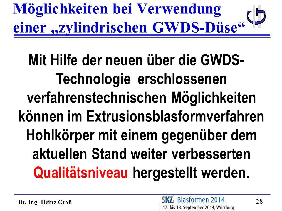 """Dr.-Ing. Heinz Groß 28 Möglichkeiten bei Verwendung einer """"zylindrischen GWDS-Düse"""" Mit Hilfe der neuen über die GWDS- Technologie erschlossenen verfa"""