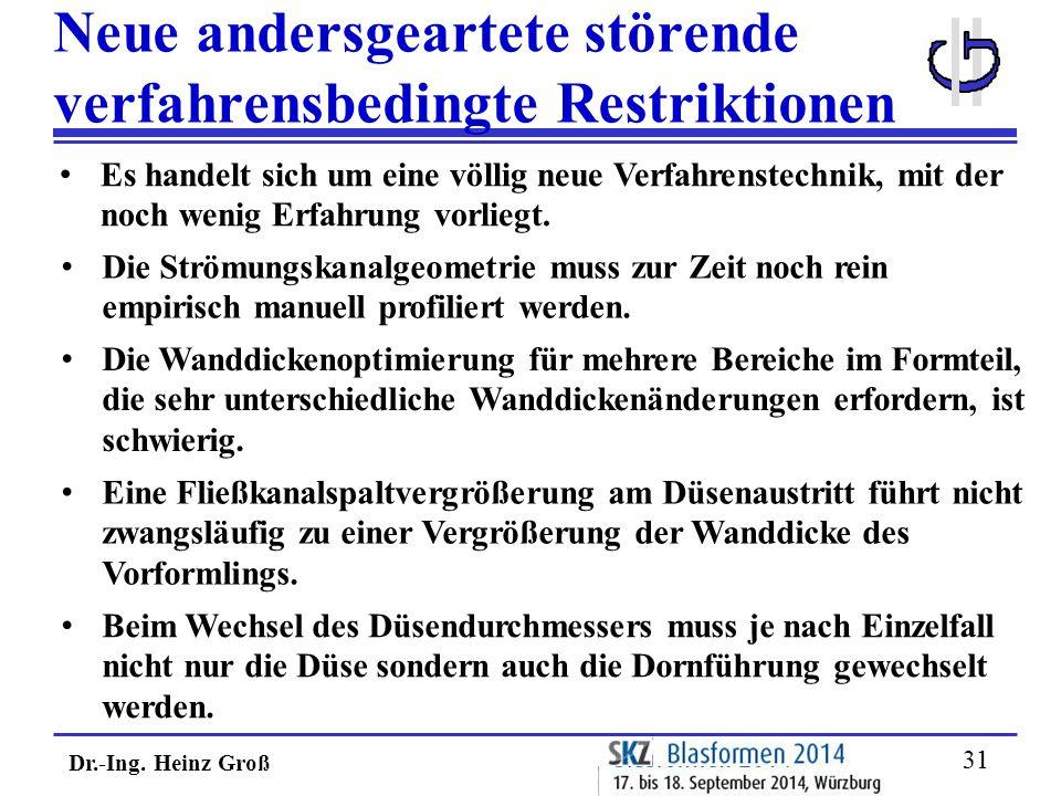 Dr.-Ing. Heinz Groß 31 Neue andersgeartete störende verfahrensbedingte Restriktionen Die Wanddickenoptimierung für mehrere Bereiche im Formteil, die s