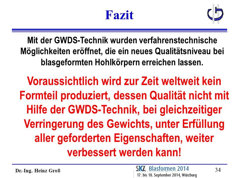 Dr.-Ing. Heinz Groß 34 Fazit Mit der GWDS-Technik wurden verfahrenstechnische Möglichkeiten eröffnet, die ein neues Qualitätsniveau bei blasgeformten