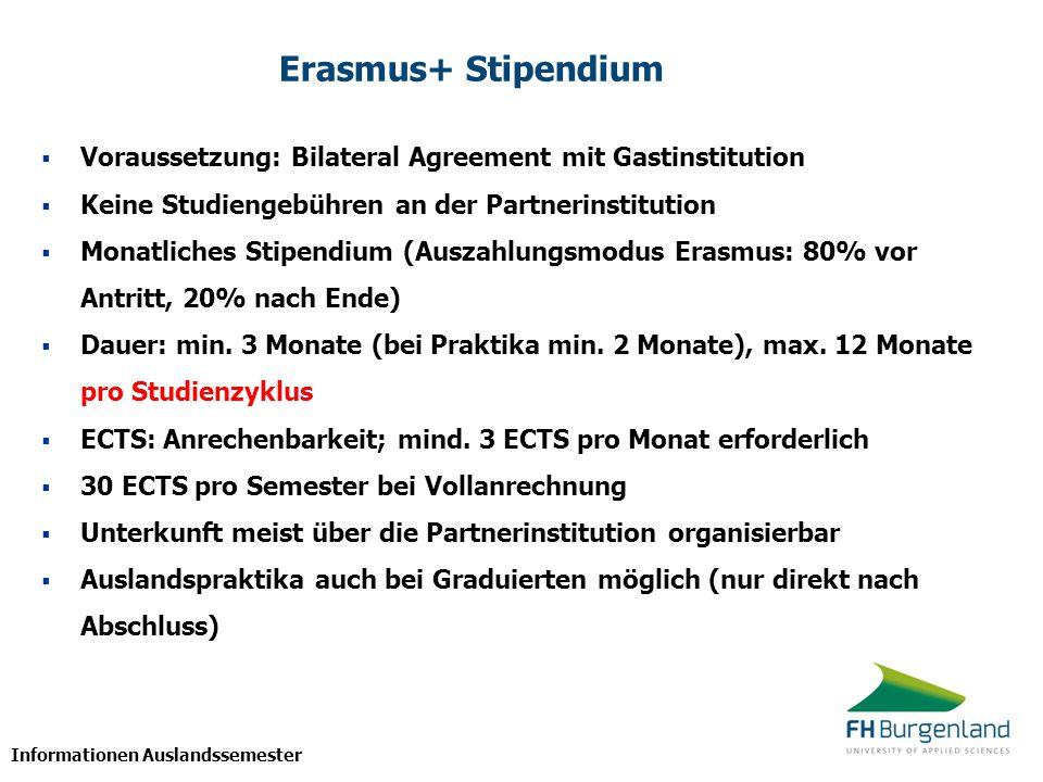 Informationen Auslandssemester Erasmus+ Stipendium  Voraussetzung: Bilateral Agreement mit Gastinstitution  Keine Studiengebühren an der Partnerinst