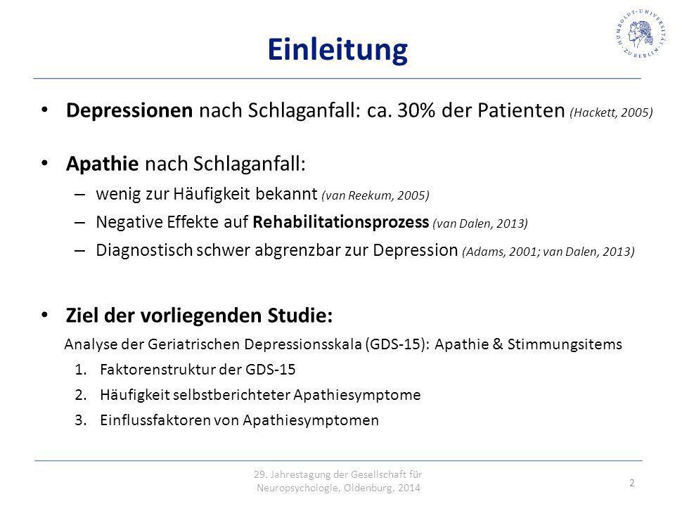Deskriptive Statistiken Geschlecht:M=60,6% (117)W= 39,4% (76) MSDMedianRange Alter63,310,26142 – 90 GDS-3A1,1 10 – 3 GDS-12D2,72,820 – 12 GDS-153,813,5530 - 14 Barthel-Index86,220,710015 – 100 3 Erhöhte Mortalität Methode Longitudinalstudie 193 Patienten Einschlusskriterien: – Ischämischer Schlaganfall > 4 Wochen – Keine Aphasie; Token-Test > 12 29.