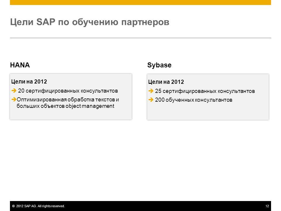 ©2012 SAP AG. All rights reserved.12 Цели SAP по обучению партнеров HANA Цели на 2012  20 сертифицированных консультантов  Оптимизированная обработк