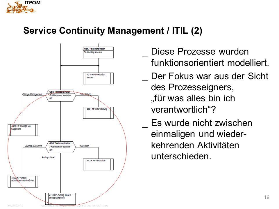 10.01.2015Qualitätsmanagement in der IT / Stefan Schmid 19 Service Continuity Management / ITIL (2) _Diese Prozesse wurden funktionsorientiert modelli