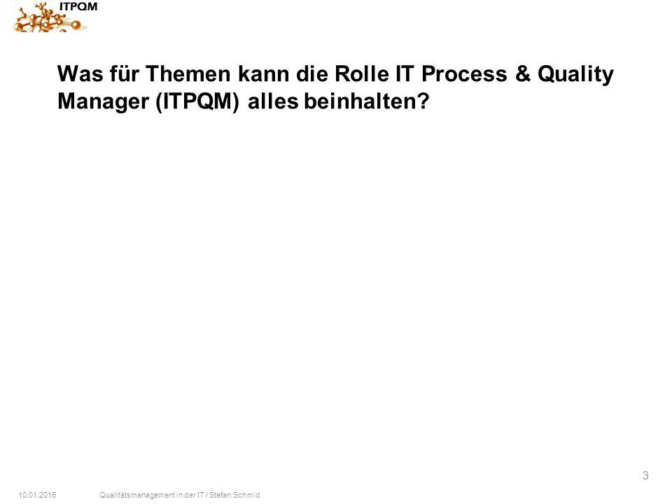 10.01.2015Qualitätsmanagement in der IT / Stefan Schmid 3 Was für Themen kann die Rolle IT Process & Quality Manager (ITPQM) alles beinhalten?