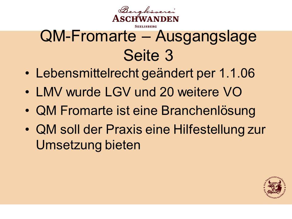 QM-Fromarte – Ausgangslage Seite 3 Lebensmittelrecht geändert per 1.1.06 LMV wurde LGV und 20 weitere VO QM Fromarte ist eine Branchenlösung QM soll d