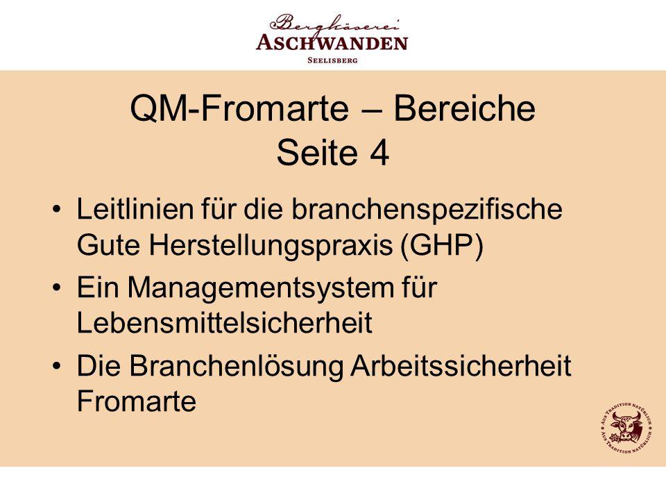 QM-Fromarte – Bereiche Seite 4 Leitlinien für die branchenspezifische Gute Herstellungspraxis (GHP) Ein Managementsystem für Lebensmittelsicherheit Di