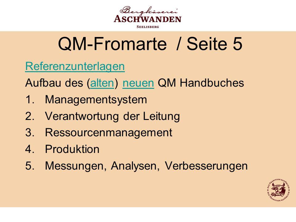 QM-Fromarte / Seite 5 Referenzunterlagen Aufbau des (alten) neuen QM Handbuchesaltenneuen 1.Managementsystem 2.Verantwortung der Leitung 3.Ressourcenm