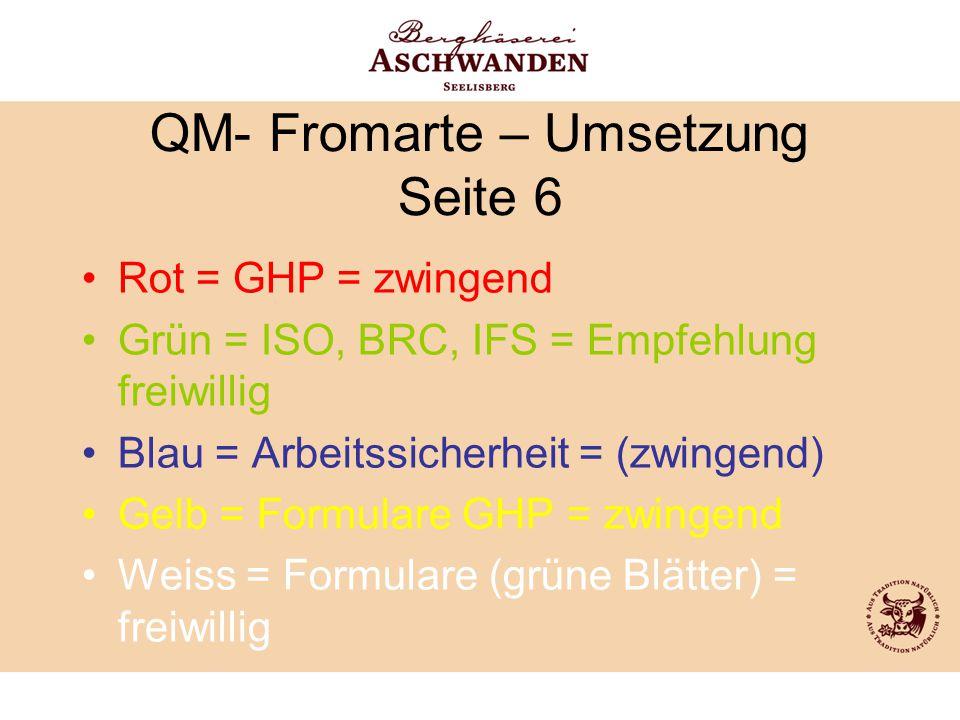 QM- Fromarte – Umsetzung Seite 6 Rot = GHP = zwingend Grün = ISO, BRC, IFS = Empfehlung freiwillig Blau = Arbeitssicherheit = (zwingend) Gelb = Formul