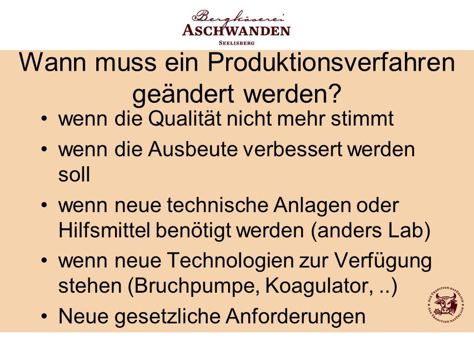 Wann muss ein Produktionsverfahren geändert werden? wenn die Qualität nicht mehr stimmt wenn die Ausbeute verbessert werden soll wenn neue technische