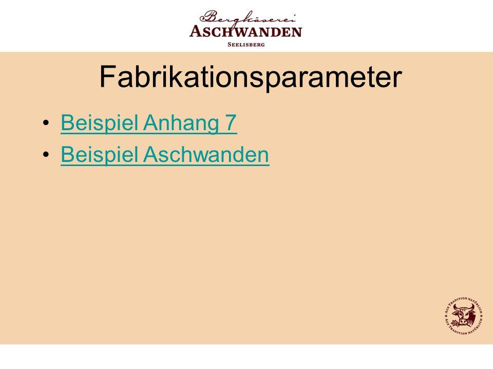 Fabrikationsparameter Beispiel Anhang 7 Beispiel Aschwanden