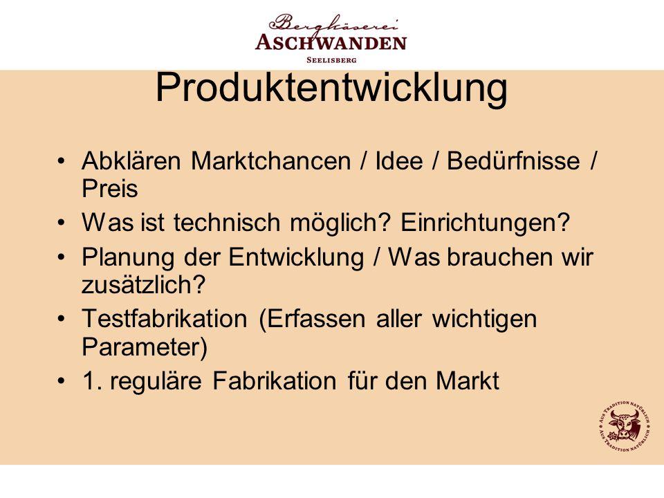 Produktentwicklung Abklären Marktchancen / Idee / Bedürfnisse / Preis Was ist technisch möglich? Einrichtungen? Planung der Entwicklung / Was brauchen