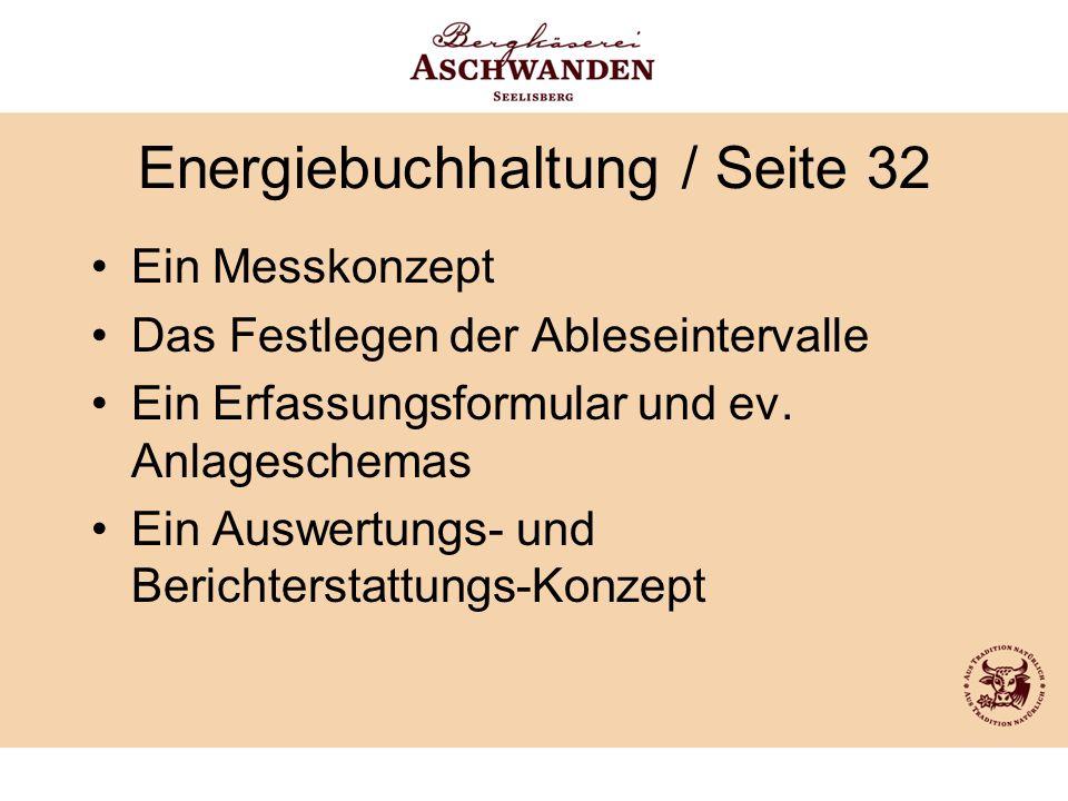 Energiebuchhaltung / Seite 32 Ein Messkonzept Das Festlegen der Ableseintervalle Ein Erfassungsformular und ev. Anlageschemas Ein Auswertungs- und Ber