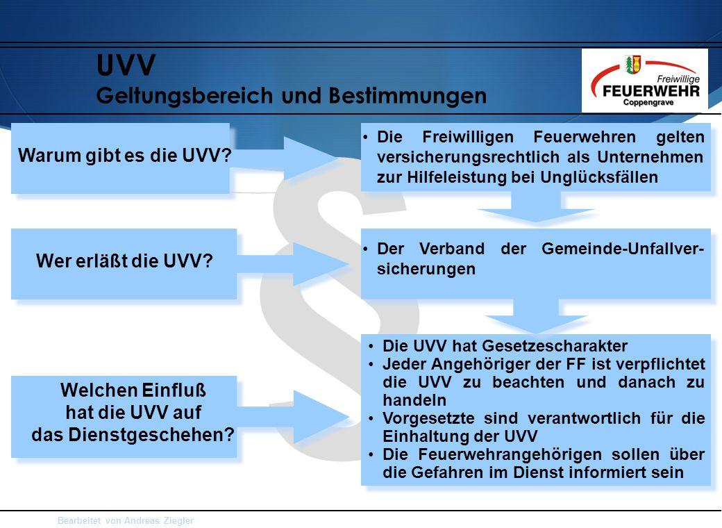 Bearbeitet von Andreas Ziegler § Die UVV hat Gesetzescharakter Jeder Angehöriger der FF ist verpflichtet die UVV zu beachten und danach zu handeln Vor