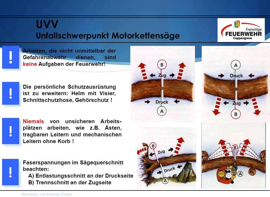 Bearbeitet von Andreas Ziegler UVV Unfallschwerpunkt Motorkettensäge Arbeiten, die nicht unmittelbar der Gefahrenabwehr dienen, sind keine Aufgaben der Feuerwehr.