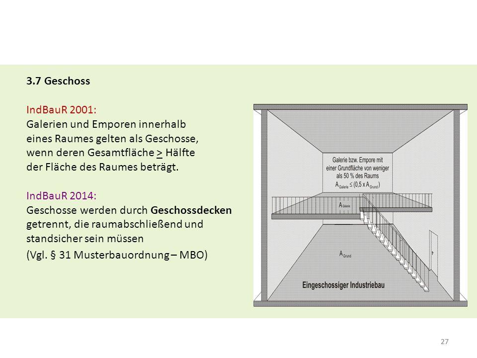 27 3.7 Geschoss IndBauR 2001: Galerien und Emporen innerhalb eines Raumes gelten als Geschosse, wenn deren Gesamtfläche > Hälfte der Fläche des Raumes beträgt.