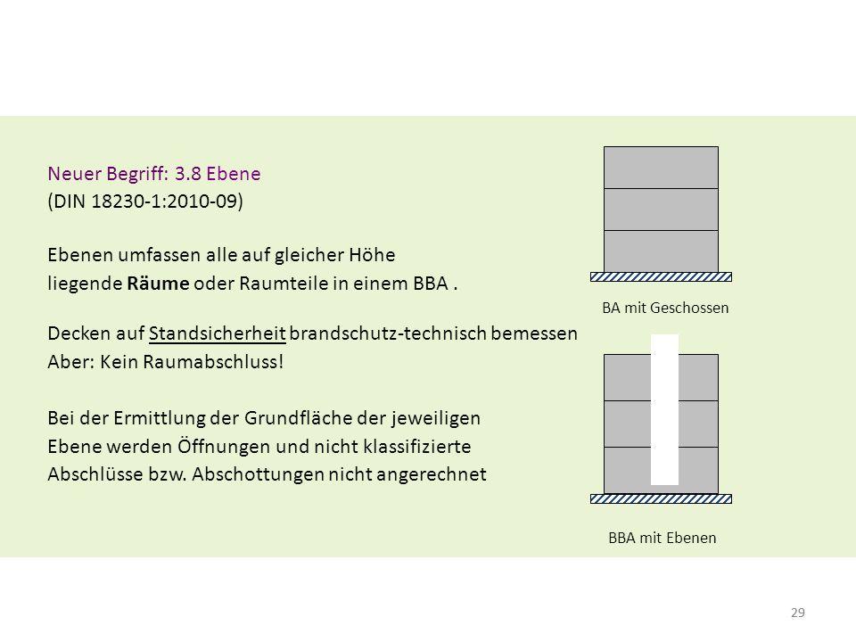 29 Neuer Begriff: 3.8 Ebene (DIN 18230-1:2010-09) Ebenen umfassen alle auf gleicher Höhe liegende Räume oder Raumteile in einem BBA. BA mit Geschossen
