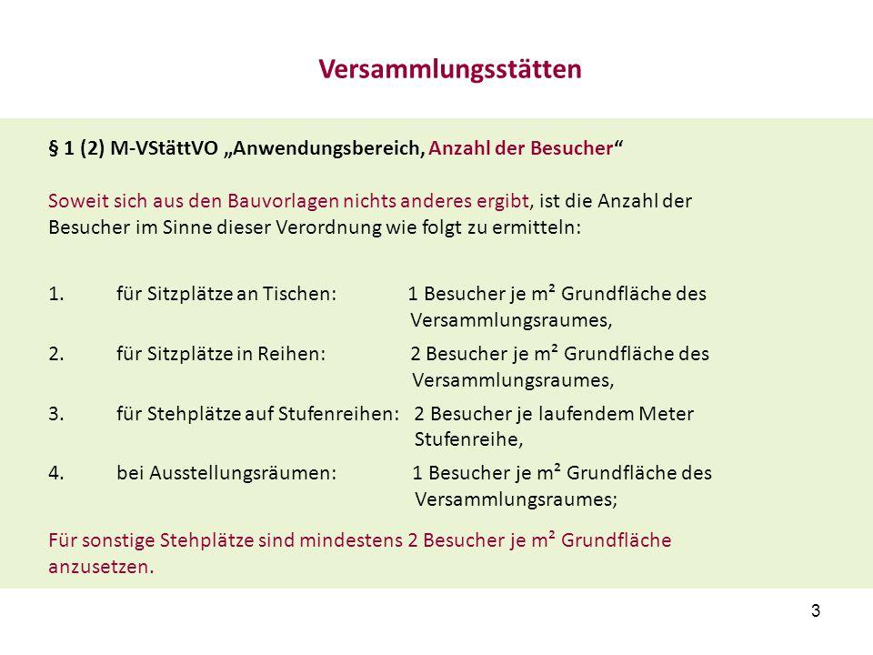 """§ 1 (2) M-VStättVO """"Anwendungsbereich, Anzahl der Besucher"""" Soweit sich aus den Bauvorlagen nichts anderes ergibt, ist die Anzahl der Besucher im Sinn"""