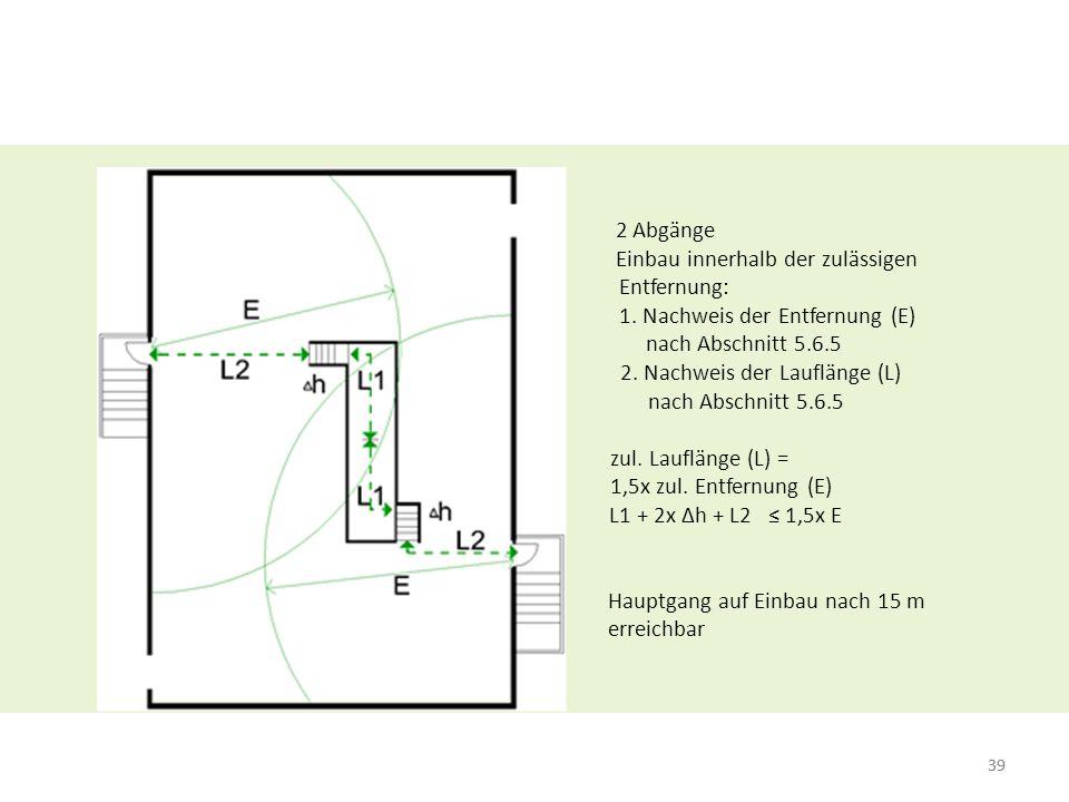 39 2 Abgänge Einbau innerhalb der zulässigen Entfernung: 1. Nachweis der Entfernung (E) nach Abschnitt 5.6.5 2. Nachweis der Lauflänge (L) nach Abschn