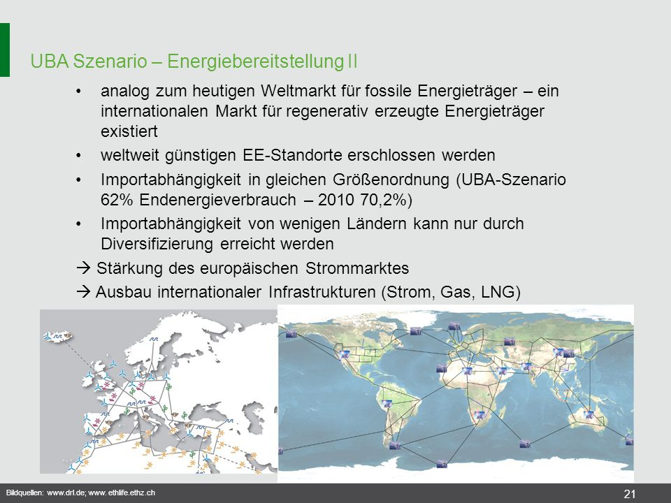 UBA Szenario – Energiebereitstellung II 21 analog zum heutigen Weltmarkt für fossile Energieträger – ein internationalen Markt für regenerativ erzeugt