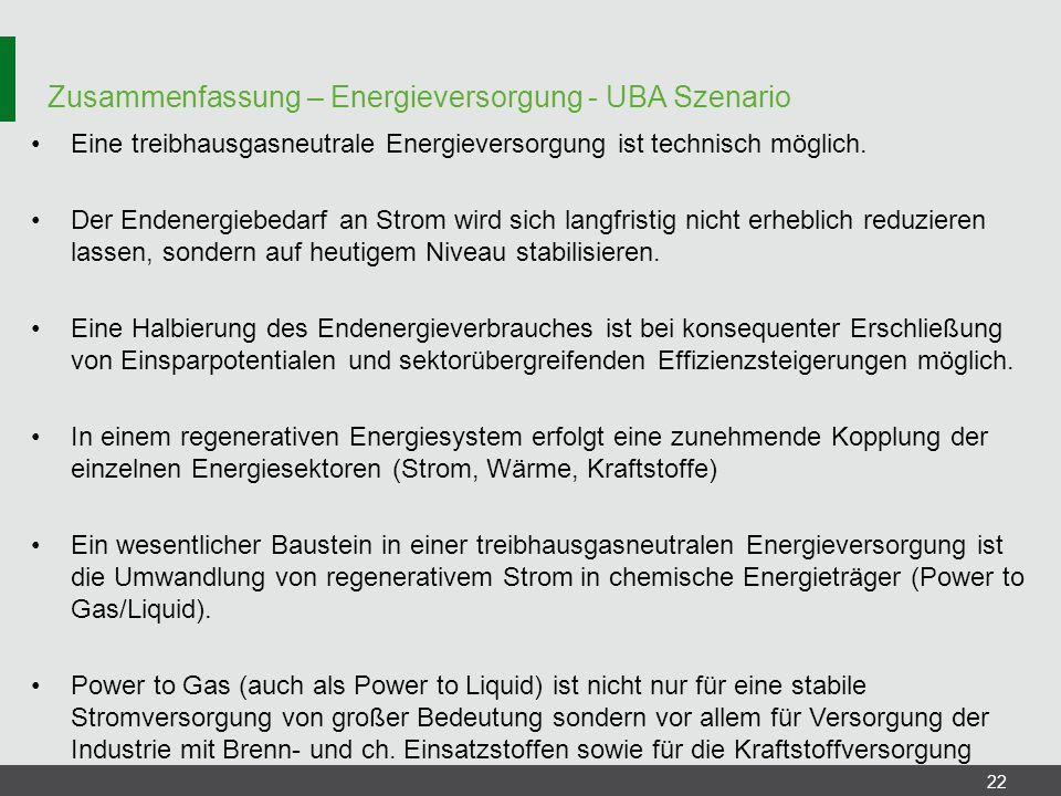 Zusammenfassung – Energieversorgung - UBA Szenario 22 Eine treibhausgasneutrale Energieversorgung ist technisch möglich. Der Endenergiebedarf an Strom