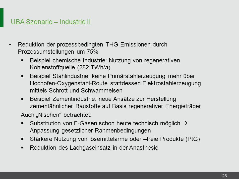UBA Szenario – Industrie II 25 Reduktion der prozessbedingten THG-Emissionen durch Prozessumstellungen um 75%  Beispiel chemische Industrie: Nutzung