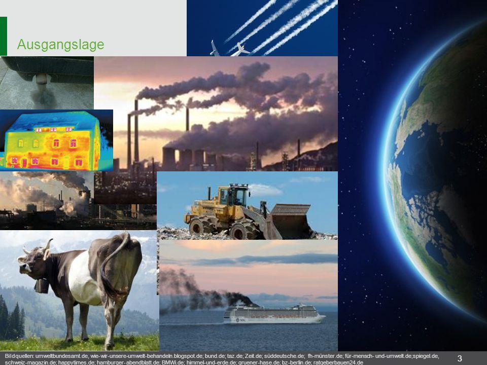 Ausgangslage 3 Bildquellen: umweltbundesamt.de, wie-wir-unsere-umwelt-behandeln.blogspot.de; bund.de; taz.de; Zeit.de; süddeutsche.de; fh-münster.de;
