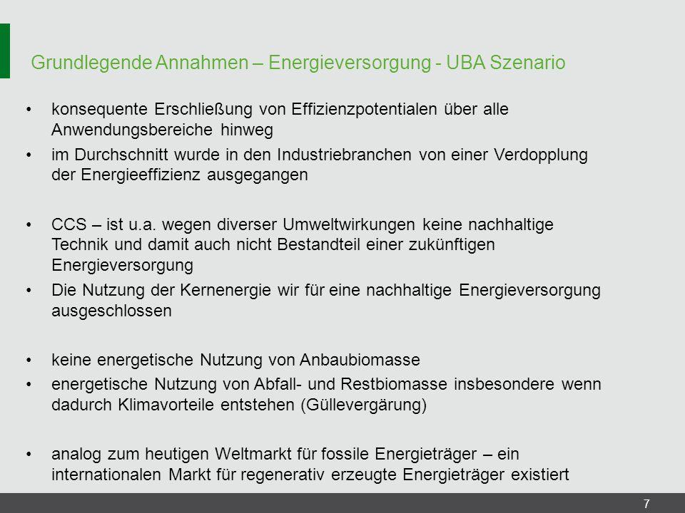 Grundlegende Annahmen – Energieversorgung - UBA Szenario 7 konsequente Erschließung von Effizienzpotentialen über alle Anwendungsbereiche hinweg im Du