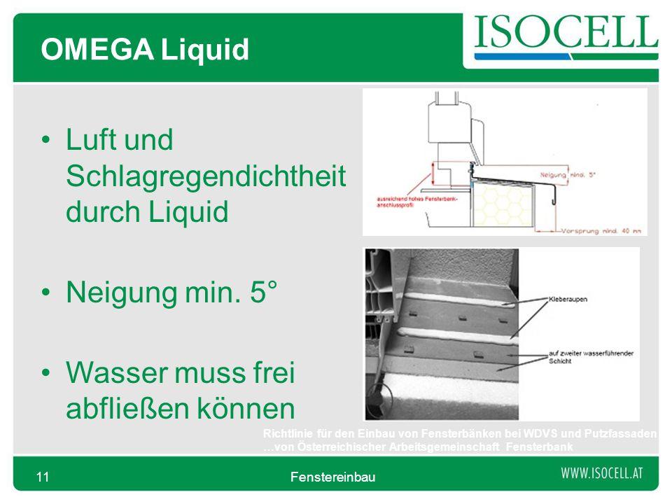 OMEGA Liquid Luft und Schlagregendichtheit durch Liquid Neigung min. 5° Wasser muss frei abfließen können Fenstereinbau11 Richtlinie für den Einbau vo