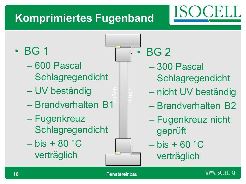Komprimiertes Fugenband BG 1 –600 Pascal Schlagregendicht –UV beständig –Brandverhalten B1 –Fugenkreuz Schlagregendicht –bis + 80 °C verträglich Fenst