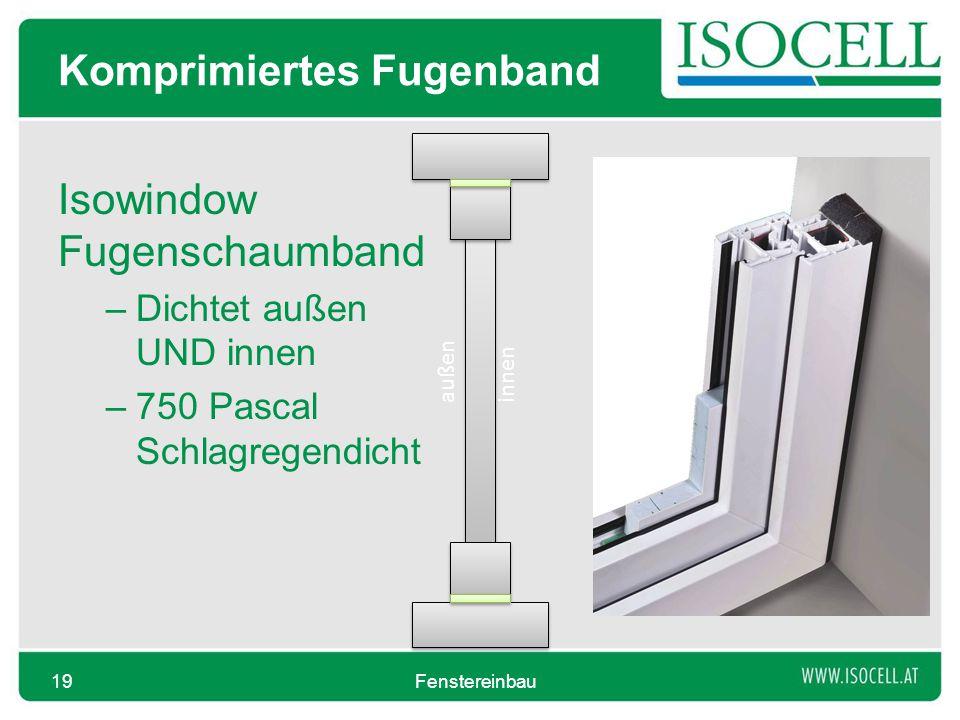 Komprimiertes Fugenband Isowindow Fugenschaumband –Dichtet außen UND innen –750 Pascal Schlagregendicht Fenstereinbau19 außeninnen