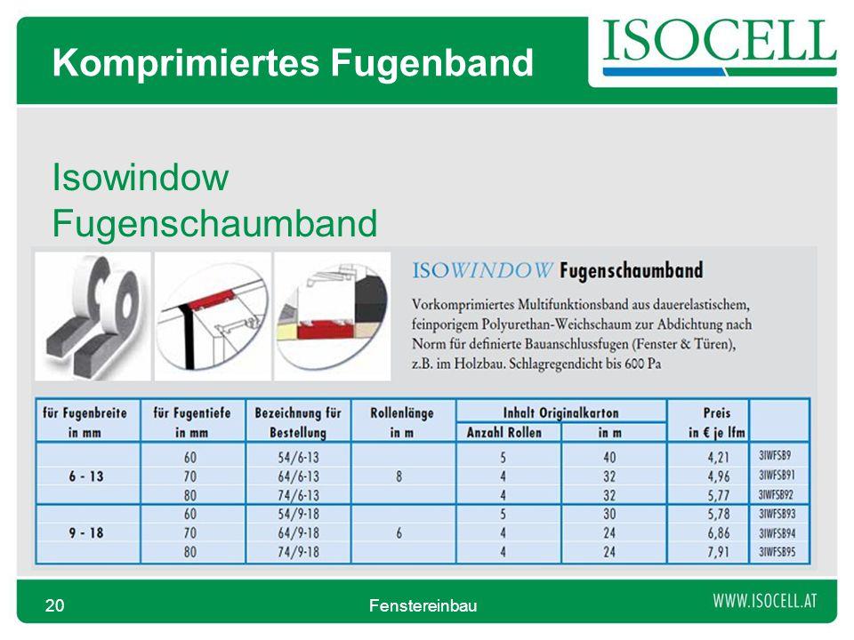 Komprimiertes Fugenband Isowindow Fugenschaumband Fenstereinbau20
