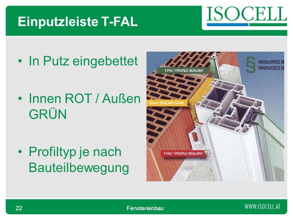 Einputzleiste T-FAL In Putz eingebettet Innen ROT / Außen GRÜN Profiltyp je nach Bauteilbewegung Fenstereinbau22