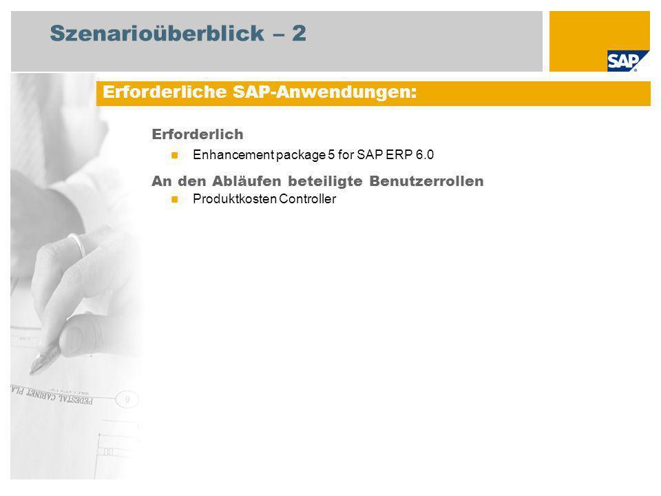 Szenarioüberblick – 2 Erforderlich Enhancement package 5 for SAP ERP 6.0 An den Abläufen beteiligte Benutzerrollen Produktkosten Controller Erforderliche SAP-Anwendungen:
