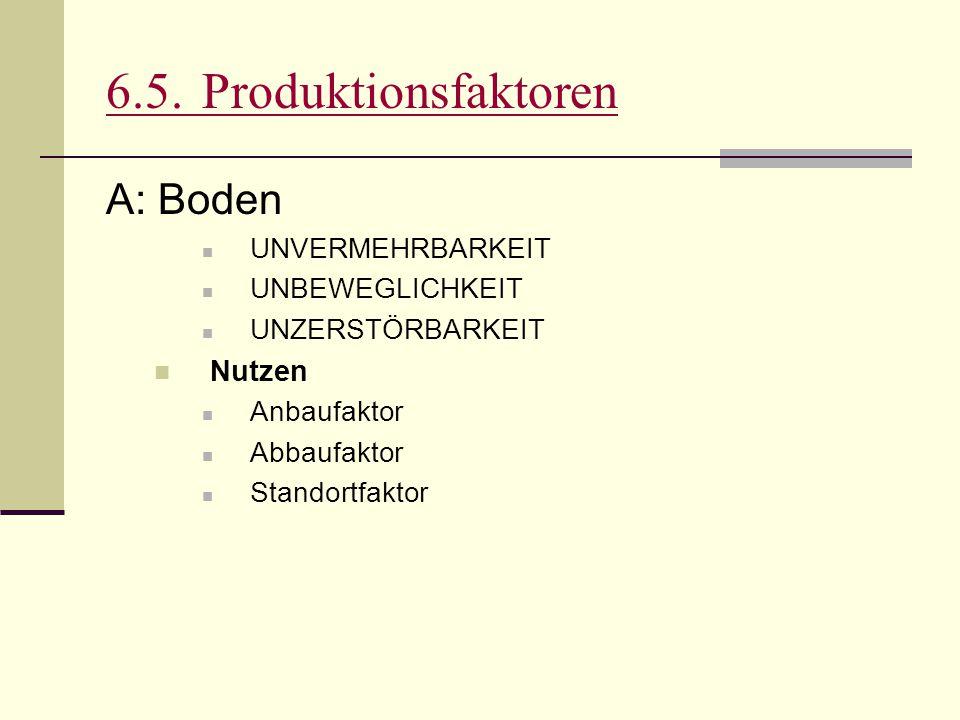 6.5.Produktionsfaktoren A: Boden UNVERMEHRBARKEIT UNBEWEGLICHKEIT UNZERSTÖRBARKEIT Nutzen Anbaufaktor Abbaufaktor Standortfaktor