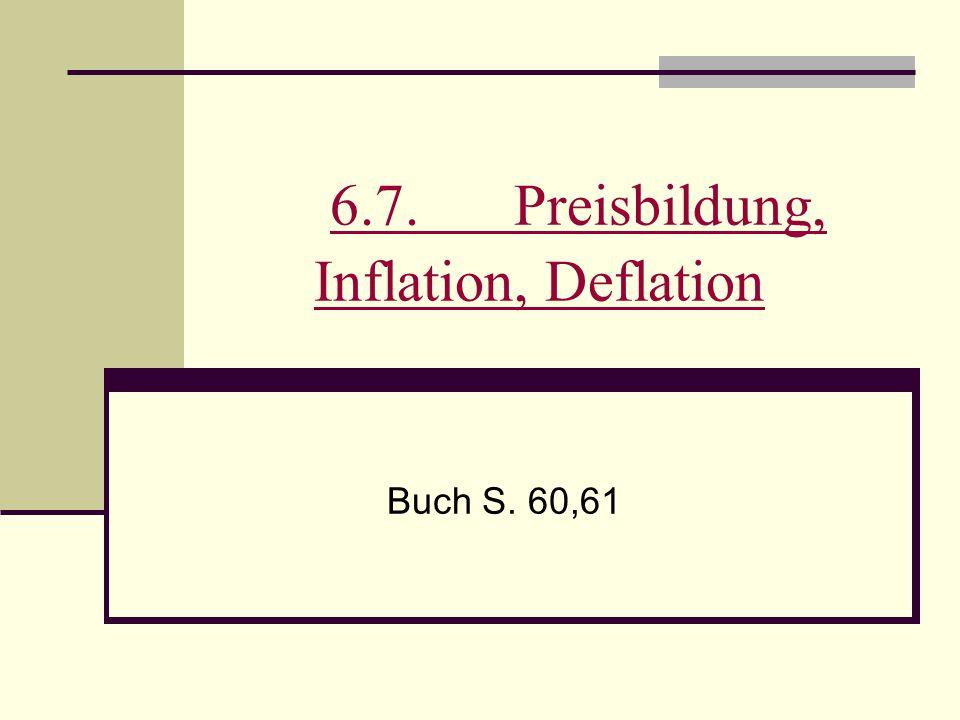 6.7.Preisbildung, Inflation, Deflation 6.7.Preisbildung, Inflation, Deflation Buch S. 60,61