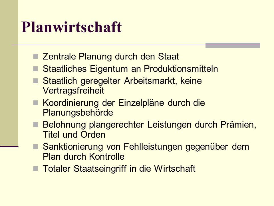 Planwirtschaft Zentrale Planung durch den Staat Staatliches Eigentum an Produktionsmitteln Staatlich geregelter Arbeitsmarkt, keine Vertragsfreiheit K