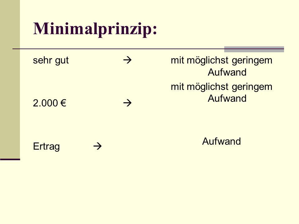 Minimalprinzip: sehr gut  2.000 €  Ertrag  mit möglichst geringem Aufwand Aufwand