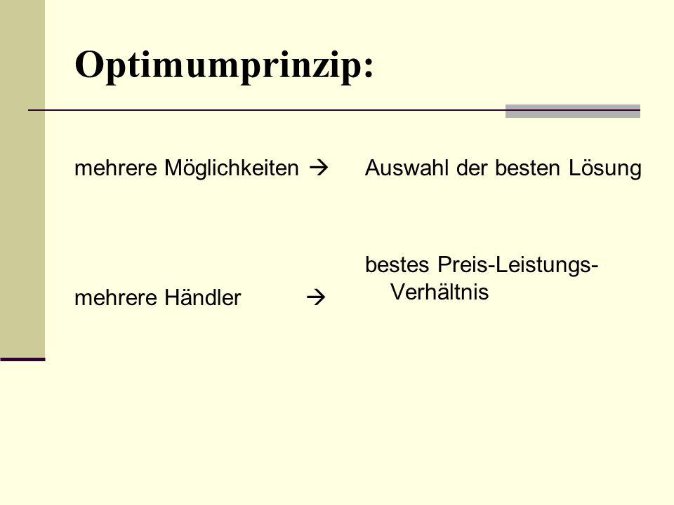 Optimumprinzip: mehrere Möglichkeiten  mehrere Händler  Auswahl der besten Lösung bestes Preis-Leistungs- Verhältnis