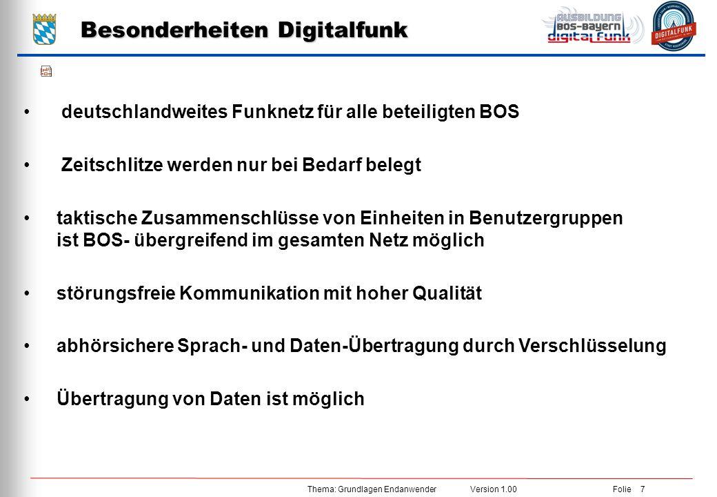 Thema: Grundlagen Endanwender Version 1.00 Folie 7 Besonderheiten Digitalfunk deutschlandweites Funknetz für alle beteiligten BOS Zeitschlitze werden