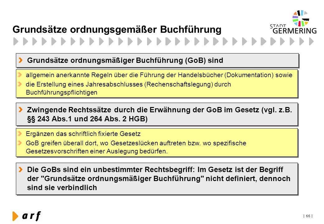 | 66 | Grundsätze ordnungsgemäßer Buchführung Grundsätze ordnungsmäßiger Buchführung (GoB) sind allgemein anerkannte Regeln über die Führung der Hande